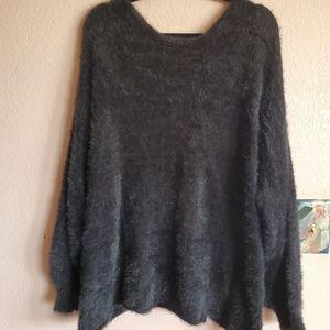 Fuzzy black sweater backless  PLUS SIZE NEVER WORN